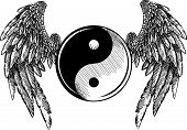 vector illustration Religion, Ying, Yang, Tao, Zen, Culture poster