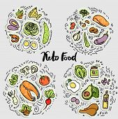 Keto Food, Ketogenic healthy food vector sketch illustration concept. Keto sticker illustration - food with decorative elements in four circles - all nutrients and food icons, like vegetables, meat, fish, sea food in amazing ketogenic concept. poster