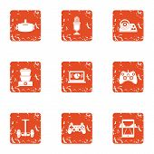 Modification icons set. Grunge set of 9 modification vector icons for web isolated on white background poster