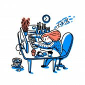 Concept of person overwhelmed by work. Information overload concept. Young woman sleeping on her workplace. Colorful vector illustration in flat cartoon style poster
