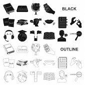 Translator and linguist black icons in set collection for design. Interpreter vector symbol stock web illustration. poster