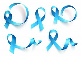 Big Set Of Blue Ribbons Isolated Over White Background. Symbol Of Prostate Cancer Awareness Month In