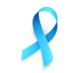 Realistic Blue Ribbon Over White Background. Symbol Of Prostate Cancer Awareness Month In November.