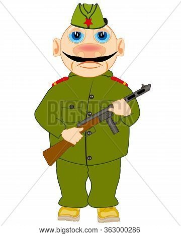 Soldier To Soviet Army With Automaton In Hand