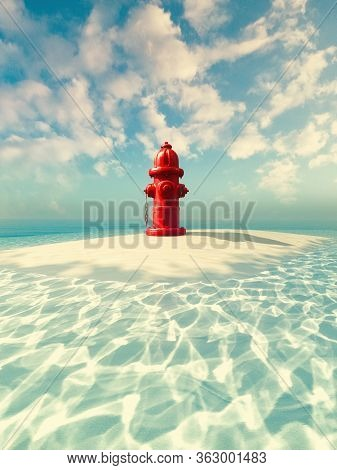 Fire Hydrant On A Small Island In The Ocean. This Is A 3d Render Illustration .