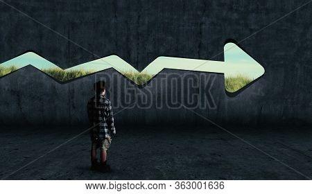 Man Looking Arrow Hole Into The Wall .