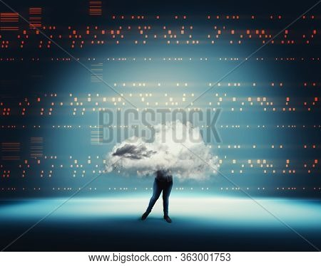 Business Woman With Cloud Inside A Cloud On Blue Futuristic Background . Big Data Transfer And Artif
