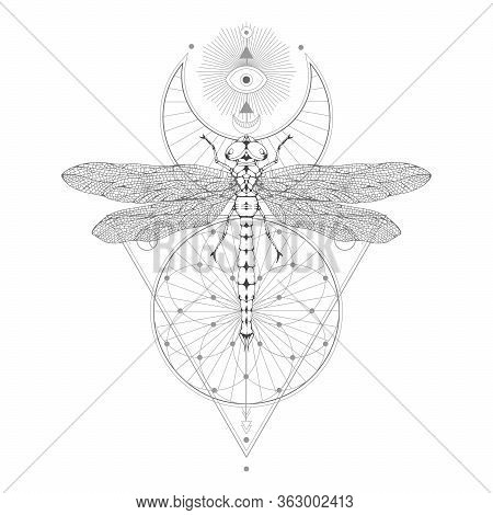 Vector Illustration With Hand Drawn Dragonfly And Sacred Geometric Symbol On White Background. Abstr