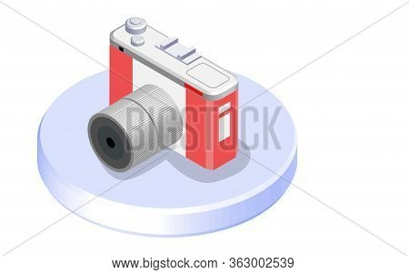 Modern Isometric Mockup Digital Photo Camera 3d, Suitable For Diagrams, Infographics, Game Asset, An
