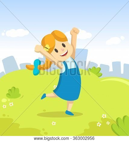 Happy Girl Jumping For Joy In The Park On City And Blue Sky Background. Funny Cartoon Character. Car