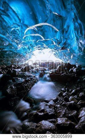 Ice Cave Texture, Vatnajokull Glacier, Iceland, Europe