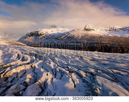 Aerial View Of Vatnajokull Glacier, Iceland, Europe