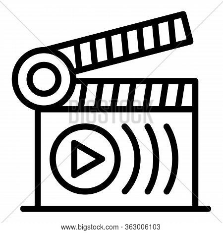 Movie Clapperboard Icon. Outline Movie Clapperboard Vector Icon For Web Design Isolated On White Bac