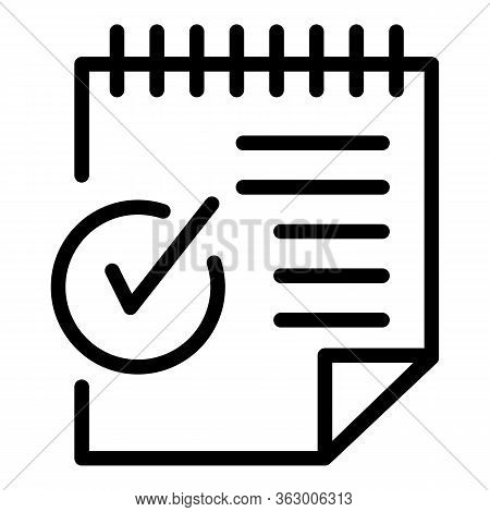 Sheet Of Paper And Checkmark Icon. Outline Sheet Of Paper And Checkmark Vector Icon For Web Design I