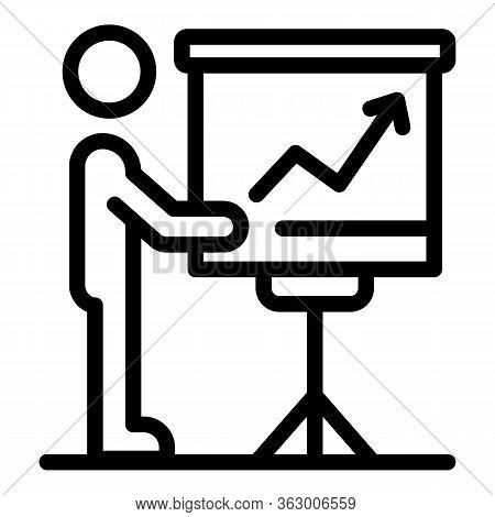 Businessman Near Flipchart Icon. Outline Businessman Near Flipchart Vector Icon For Web Design Isola