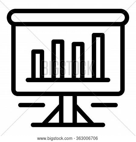 Flipchart With Diagram Icon. Outline Flipchart With Diagram Vector Icon For Web Design Isolated On W