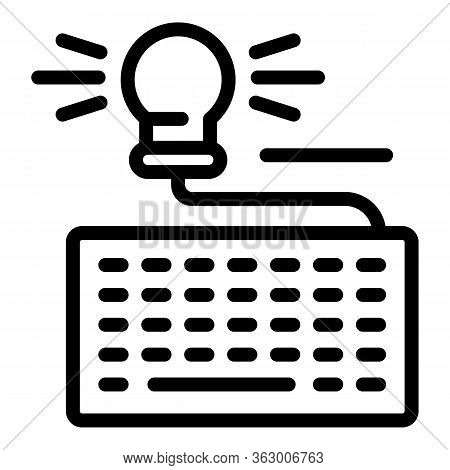 Keyboard With Light Bulb Icon. Outline Keyboard With Light Bulb Vector Icon For Web Design Isolated