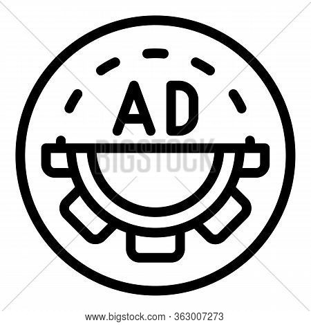 Ad In A Circle With Cog Icon. Outline Ad In A Circle With Cog Vector Icon For Web Design Isolated On