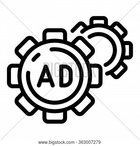 Ad And Two Cogwheels Icon. Outline Ad And Two Cogwheels Vector Icon For Web Design Isolated On White
