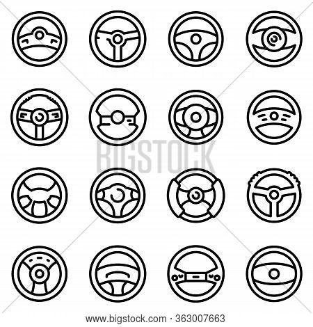 Steering Wheel Icons Set. Outline Set Of Steering Wheel Vector Icons For Web Design Isolated On Whit