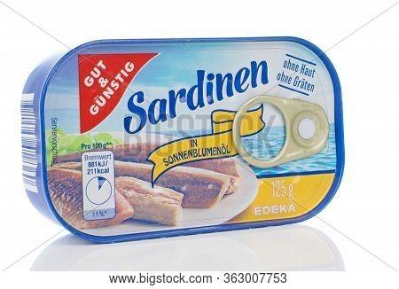 Niedersachsen, Germany April 23, 2020: A Tin Of Gut Und Guenstig Sardinen On A White Background