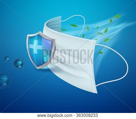 Surgical Mask Protects Against Germs, Virus Covid-19, Bacteria, Dust, Mucus And Saliva. Stop The Spr