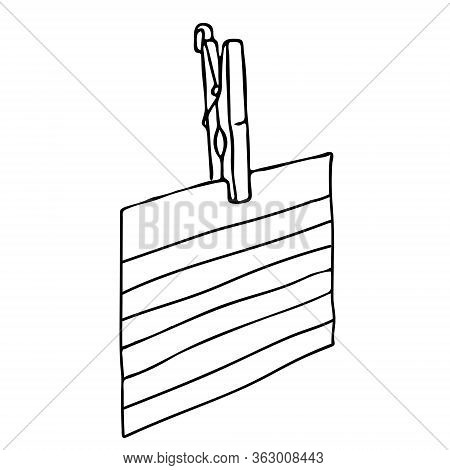 Hand-draw Black Vector Illustration Of Wooden Retro Clothespin With A Piece Of Paper With Copy Space