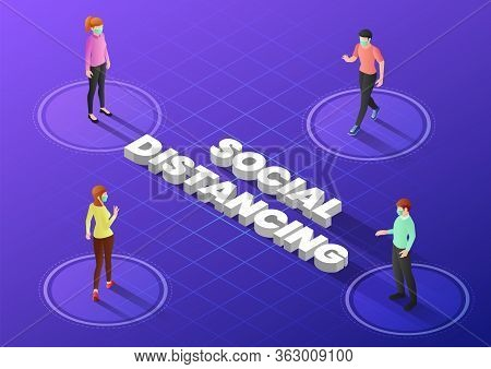 3d Isometric Web Banner People Keep Distance In Public Society To Avoid Spreading Covid-19 Virus. So