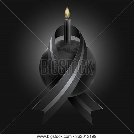 Mourning For The Loss Of Many People From Epidemics, Wars, Natural Disasters Using Black Ribbons Wra