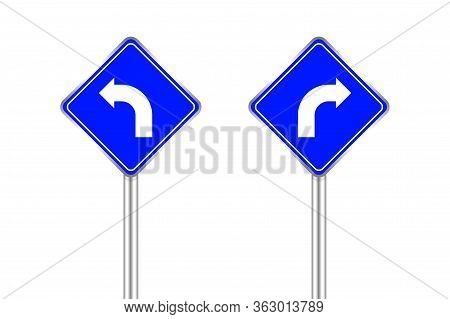 Road Sign Of Arrow Pointing Bend To Left And Right, Traffic Road Sign Blue Color Isolated On White,
