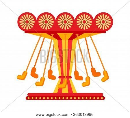 Swinging Carousel Seats On Chains Flat, Amusement Park. Colorful Childrens Carousel Ride, Swing Cart
