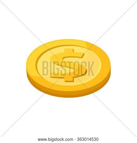 Golden Medal Dollar Coin Isolated On White Background, Dollar Coin Gold Icon, Medal Dollar Gold Sign