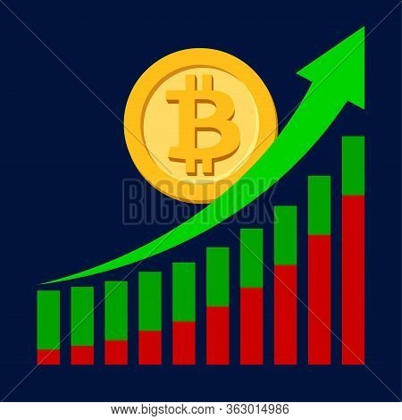Bitcoin Currency On Graph With Green Arrow Pointing Up, Bitcoin Money Symbol On Chart Bar Arrow For