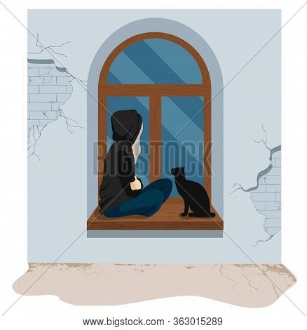 Sad And Depressed Girl Sitting On On The Windowsill With Her Cat. Sad Teenager. Depressed Woman And