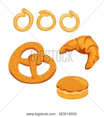 Bread And Buns Flat Vector Illustration. Bake Bread And Buns Isolated On White Background. Croissant