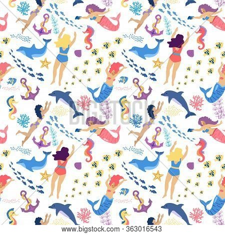 Mermaids And Swimmers Girls Seamless Pattern On Blue Background, Vector Illustration. Cute Mermaids,