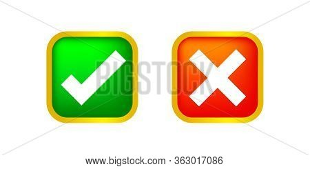 Checkmark And X Or Confirm And Deny Square Icon Button 3d For Apps And Websites Symbol, Icon Checkma