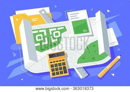 Folder Calculator Ruler And Pencil On Table Vector Illustration. Planning For Development Project Fl