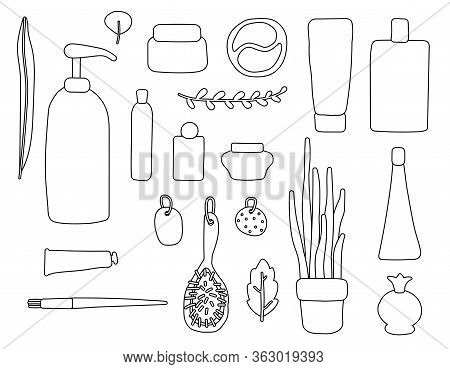 Set Of Contour Items Of Cosmetics And Plants. Outline Packages, Bottles, Tubes With Cosmetics, Shamp
