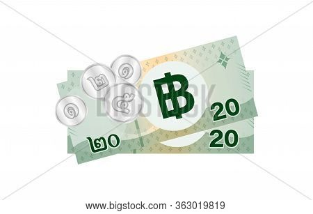 Thai Banknote Money 49 Baht Isolated On White, Thai Currency Forty Nine Thb Concept, Money Thailand