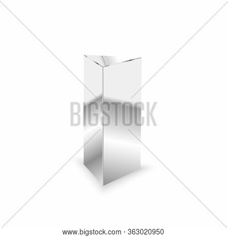 Blank Glossy Metal 3d Triangular Prism On White