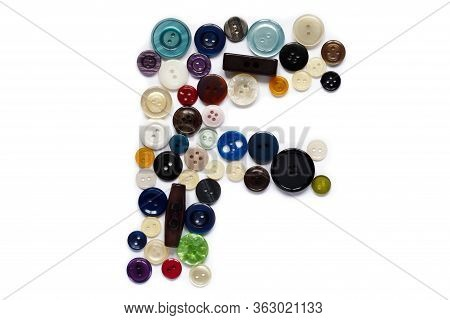 Letter F Of Sewing Button Alphabet. Latin Alphabet From Buttons . Letter From Buttons. Font From But