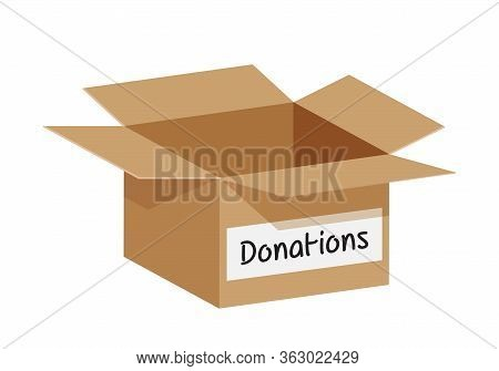 Empty Donation Box Isolated On White Background, Open Box Blank For Donations, Illustration Of Donat