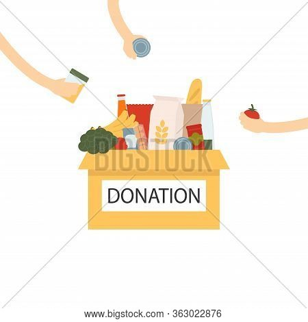 Coronavirus Donation Food. Donation Box With Food And Hands Giving Goodies. Box With Different Types
