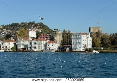 Istanbul,turkey - November 3, 2019:anatolian Fortress On The Banks Of The Bosphorus In The Asian Par