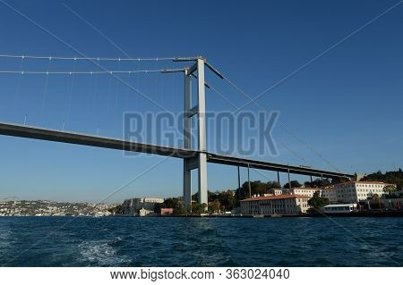 Istanbul,turkey - November 3, 2019:july 15 Martyrs Bridge Over The Bosphorus Strait In Istanbul