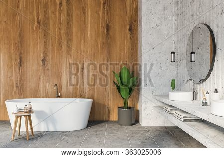 Interior Of Modern Bathroom With White And Wooden Walls, Tiled Floor, Double Sink With Two Round Mir