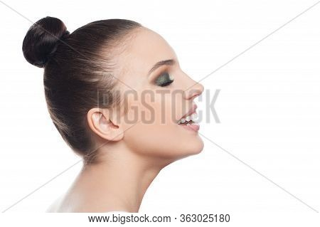 Beautiful Perfect Woman Spa Model Smiling Isolated On White Background. Beautiful Face, Profile