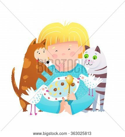 Little Girl Sharing Food With Cat And Dog Animals. Cute Child And Pets Friends Eating Together From