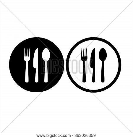 Fork, Plate And Knife Icon Isolated On White Background. Fork, Plate And Knife Icon In Trendy Design
